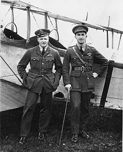 a photo of two airplane pilots